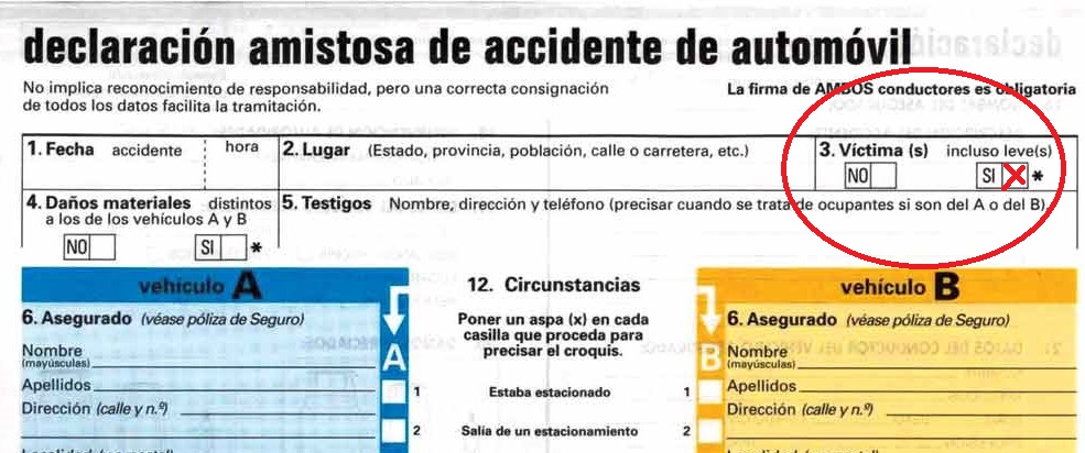 parte amistoso accidente tráfico